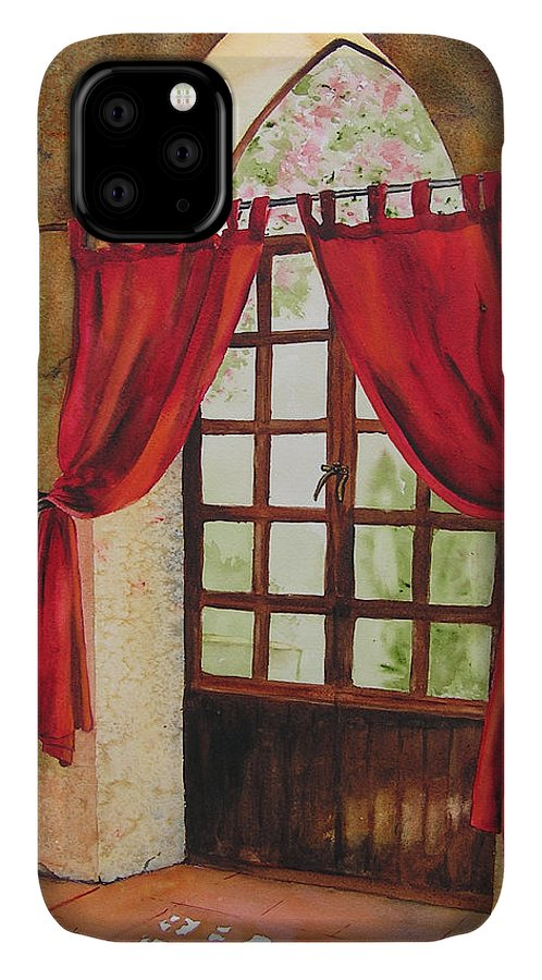 Curtain IPhone 11 Case featuring the painting Red Curtain by Karen Stark