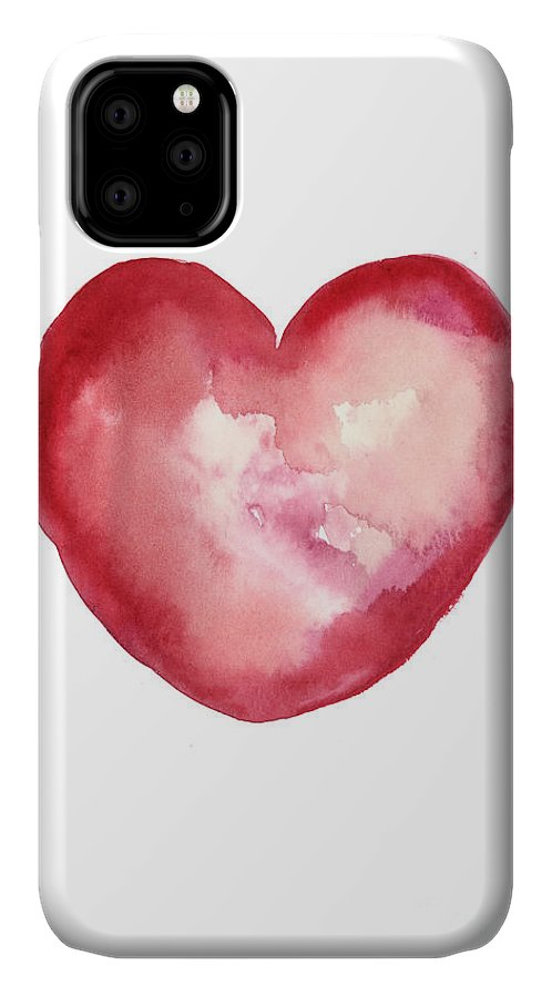 Valentine's Day IPhone Case featuring the painting Red Heart Valentine's Day Gift by Joanna Szmerdt