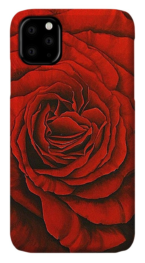 Red IPhone Case featuring the painting Red Rose II by Rowena Finn