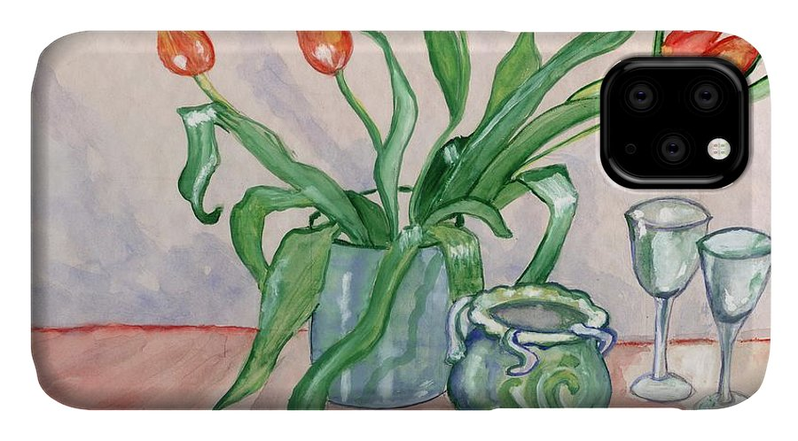 Red IPhone Case featuring the painting Red tulips still life by Manjiri Kanvinde
