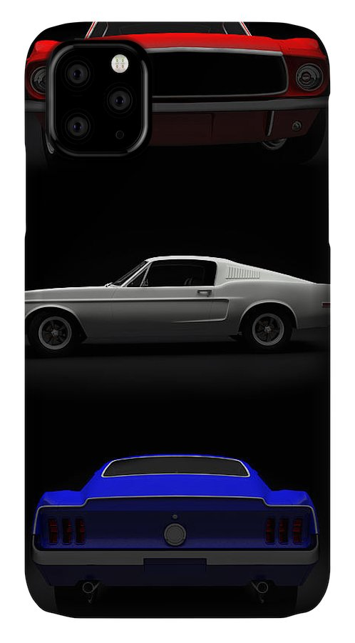 Blue IPhone Case featuring the digital art Red White Blue Mustang 2 by Brainwave Pictures