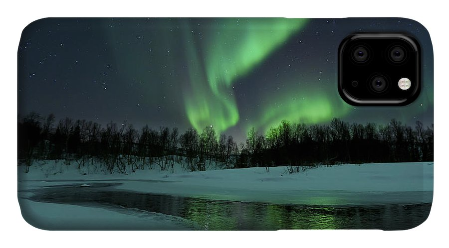 Green IPhone Case featuring the photograph Reflected Aurora Over A Frozen Laksa by Arild Heitmann