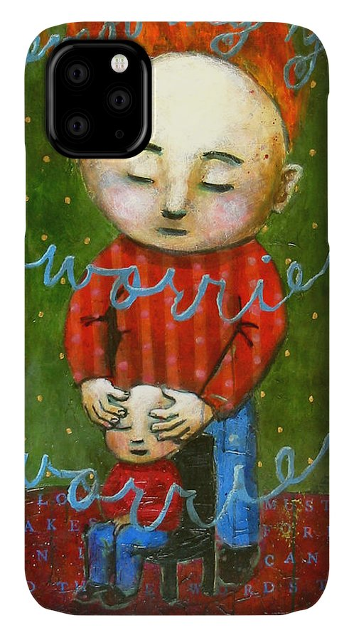 Text IPhone Case featuring the painting Removing Your Worries by Pauline Lim