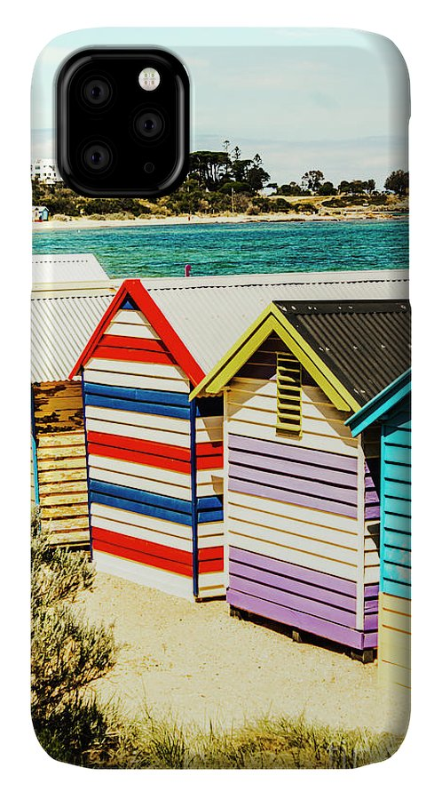 Melbourne IPhone Case featuring the photograph Retro Beach Boxes by Jorgo Photography - Wall Art Gallery