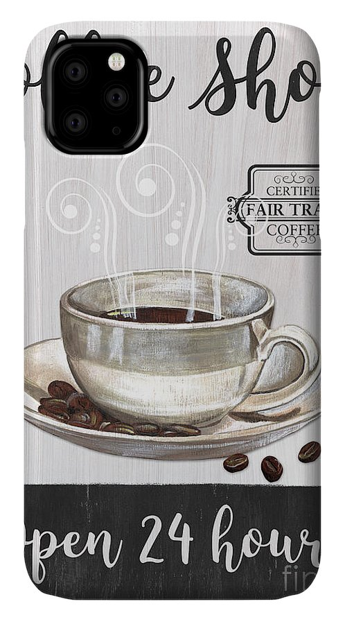 Coffee IPhone 11 Case featuring the painting Retro Coffee Shop 1 by Debbie DeWitt
