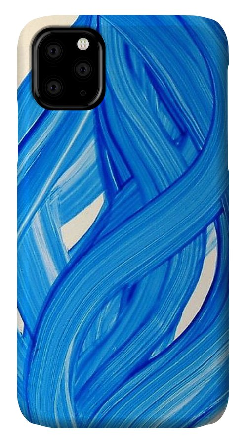 Abstract Modern Contemporary Yupo Art Painting Romantic Pop Blue IPhone Case featuring the painting Ribbons of Love-Blue by Manjiri Kanvinde