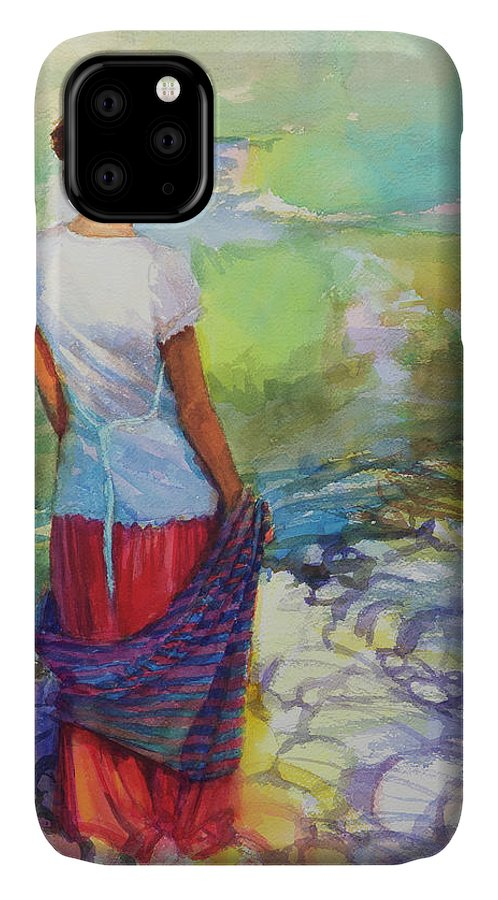 Country IPhone 11 Case featuring the painting Riverside Muse by Steve Henderson