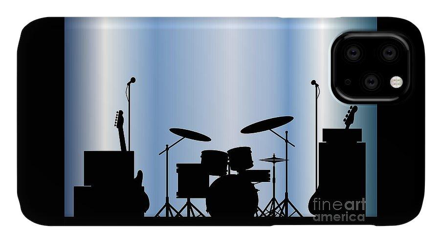Rock Bandm Guitar IPhone 11 Case featuring the digital art Rock Band Equipment by Bigalbaloo Stock