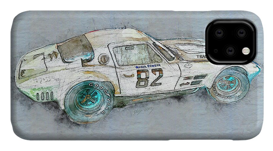 Chevrolet Corvette IPhone Case featuring the mixed media Roger Penske Racing by David Wagner