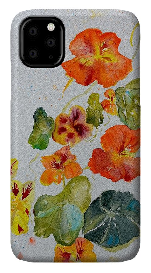 Nasturtiums IPhone 11 Case featuring the painting Room To Move by Beverley Harper Tinsley