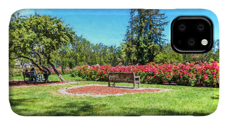 California IPhone 11 Case featuring the digital art Rose Garden Benches Impressionist Digital Painting by Randy Herring