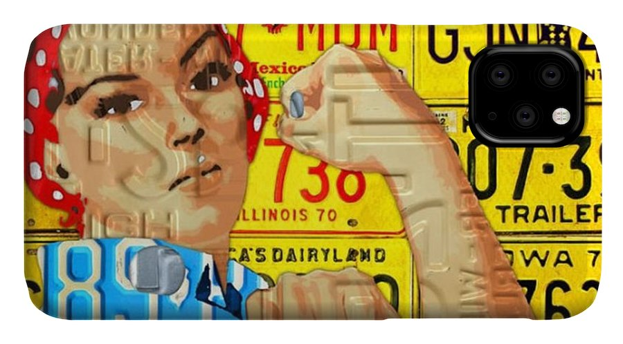 Rosie IPhone Case featuring the photograph #rosie  #metal #art #licenseplate by Design Turnpike