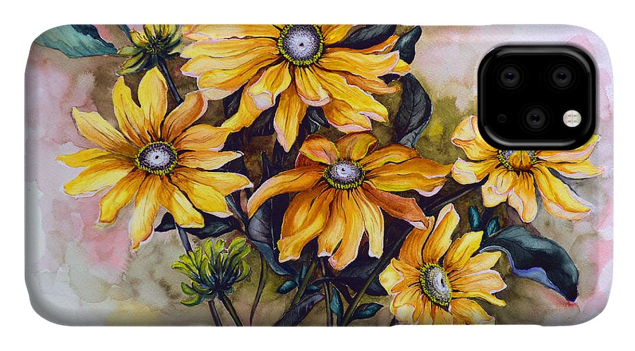 Flower Painting Sun Flower Painting Flower Botanical Painting  Original Watercolor Painting Rudebeckia Painting Floral Painting Yellow Painting Greeting Card Painting IPhone Case featuring the painting RUDBECKIA Prairie Sun by Karin Dawn Kelshall- Best