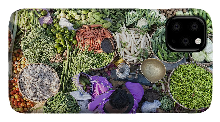 Indian IPhone Case featuring the photograph Rural Indian Vegetable Market by Tim Gainey