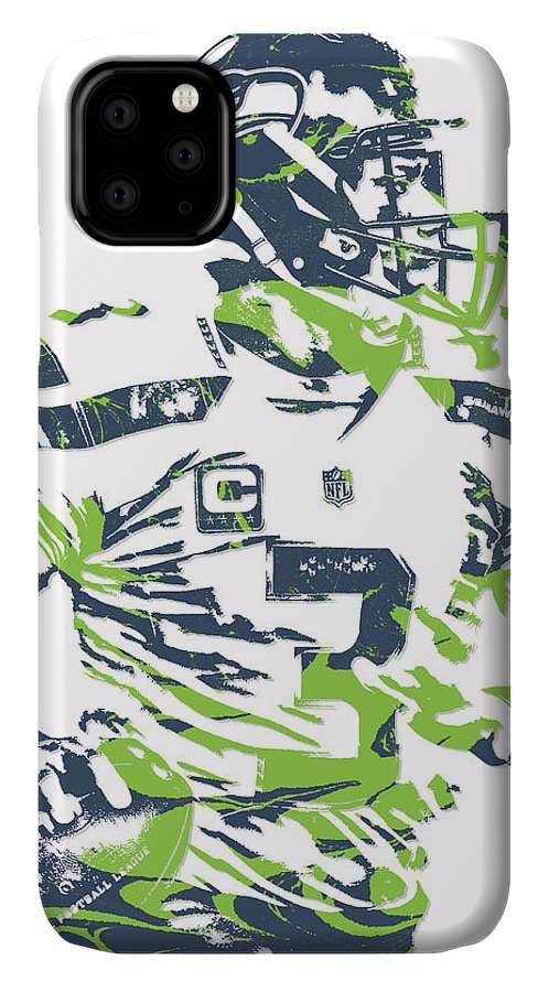 Russell Wilson IPhone Case featuring the mixed media Russell Wilson Seattle Seahawks Pixel Art 10 by Joe Hamilton