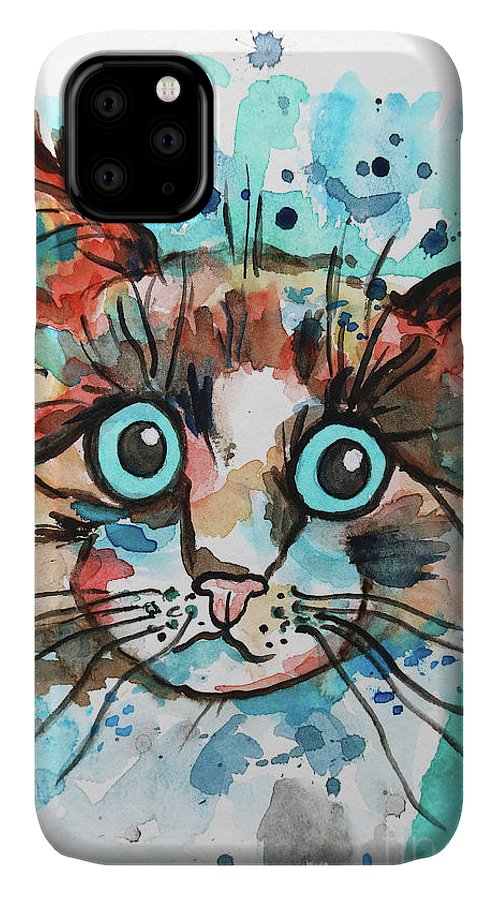 Paint IPhone Case featuring the painting Sad Cat by Jutta Maria Pusl