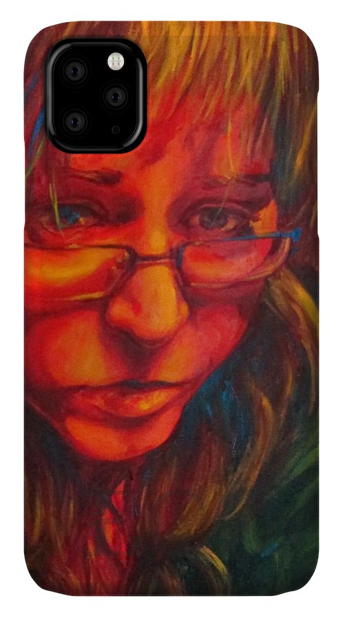 Woman IPhone Case featuring the painting Sadness In Primaries by Emma Olsen