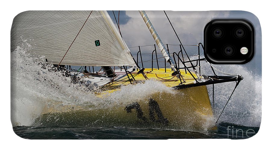Sailboat IPhone Case featuring the photograph Sailboat Le Pingouin Open 60 Charging by Dustin K Ryan
