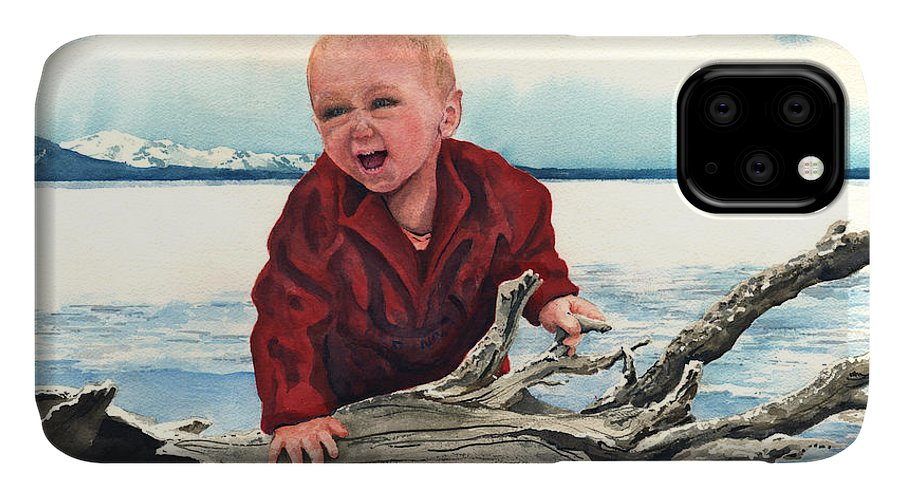 Child IPhone Case featuring the painting Sam and The Log by Sam Sidders