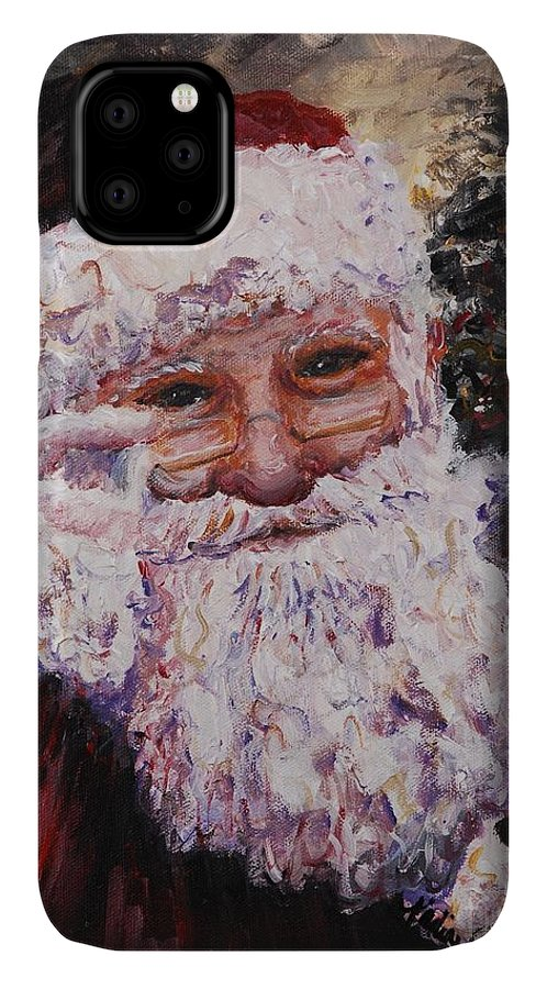 Santa IPhone Case featuring the painting Santa Chat by Nadine Rippelmeyer