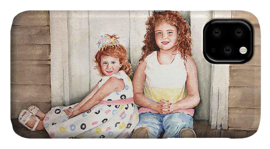 Children IPhone Case featuring the painting Sayler and Tayzlee by Sam Sidders