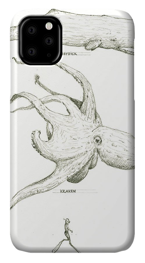 Kraken IPhone 11 Case featuring the painting Sea Monsters, Kraken And Moby Dick by Juan Bosco