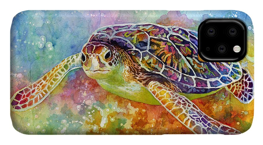Turtle IPhone Case featuring the painting Sea Turtle 3 by Hailey E Herrera
