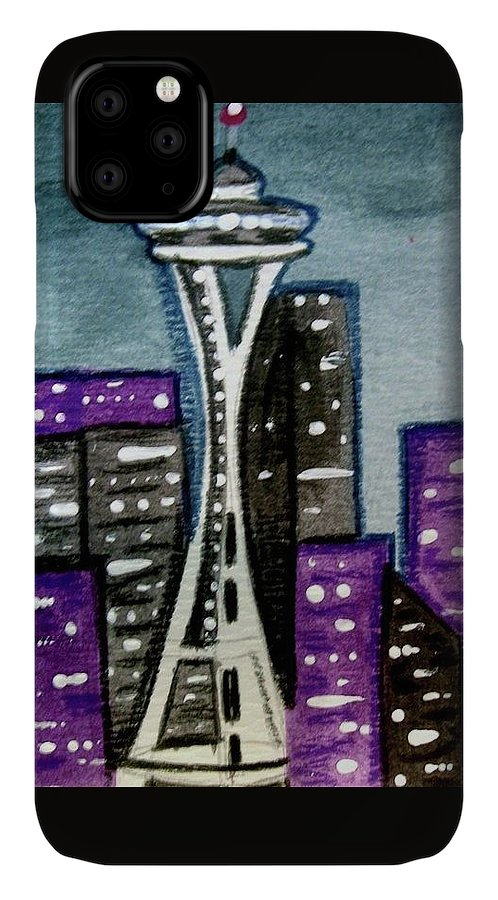 Space Needle IPhone Case featuring the painting Seattle Space Needle Cityscape by Monica Resinger