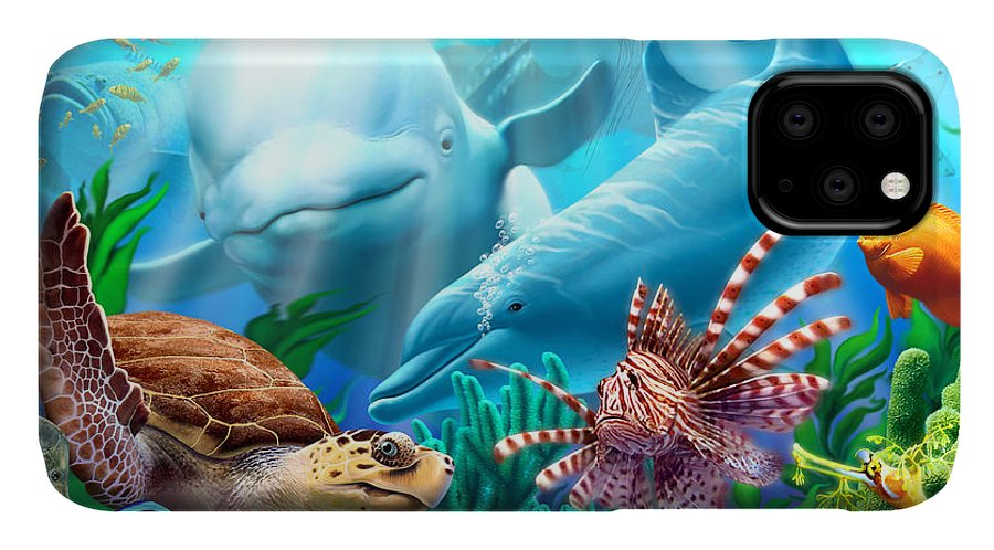 Beluga Whale IPhone 11 Case featuring the digital art Seavilians 1 by Jerry LoFaro