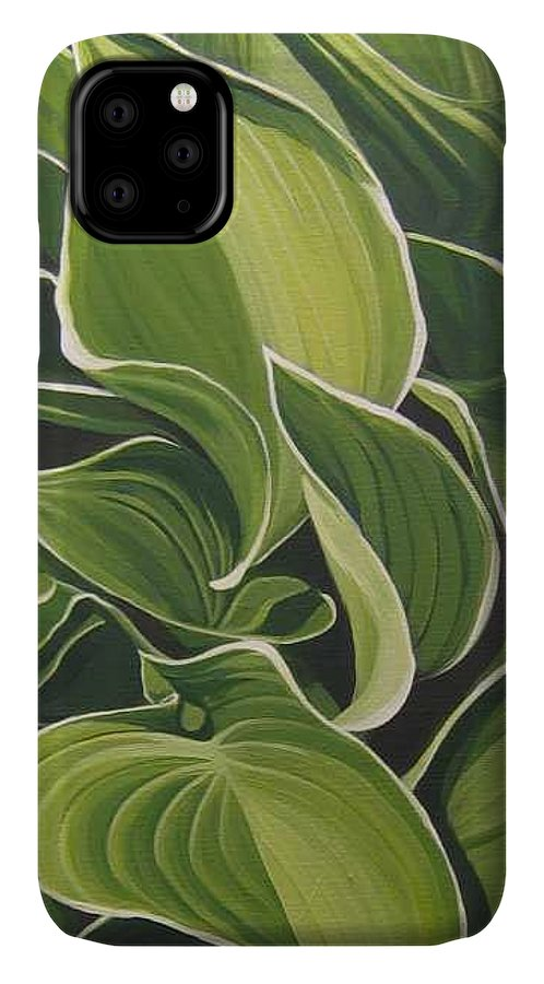 Closeup Of Hosta Plant IPhone Case featuring the painting Shapes that Go Together by Hunter Jay