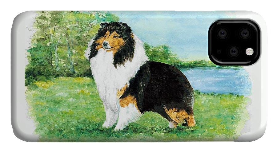 Shetland Sheepdog IPhone Case featuring the painting Sheltie Wait by Kathleen Sepulveda
