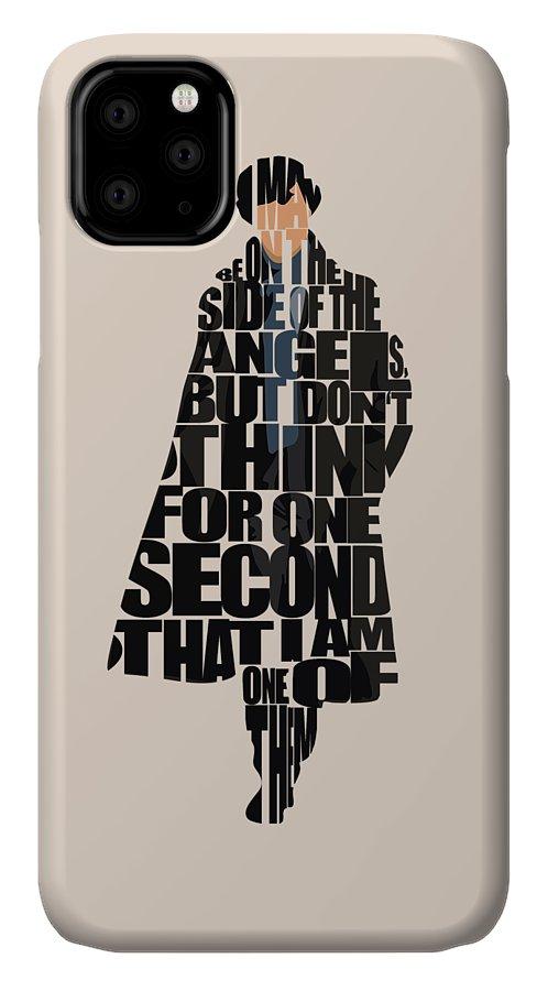 Sherlock IPhone 11 Case featuring the digital art Sherlock - Benedict Cumberbatch by Inspirowl Design