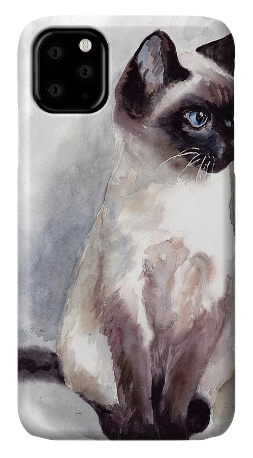 Little IPhone Case featuring the painting Siamese Kitten Portrait by Suzann Sines