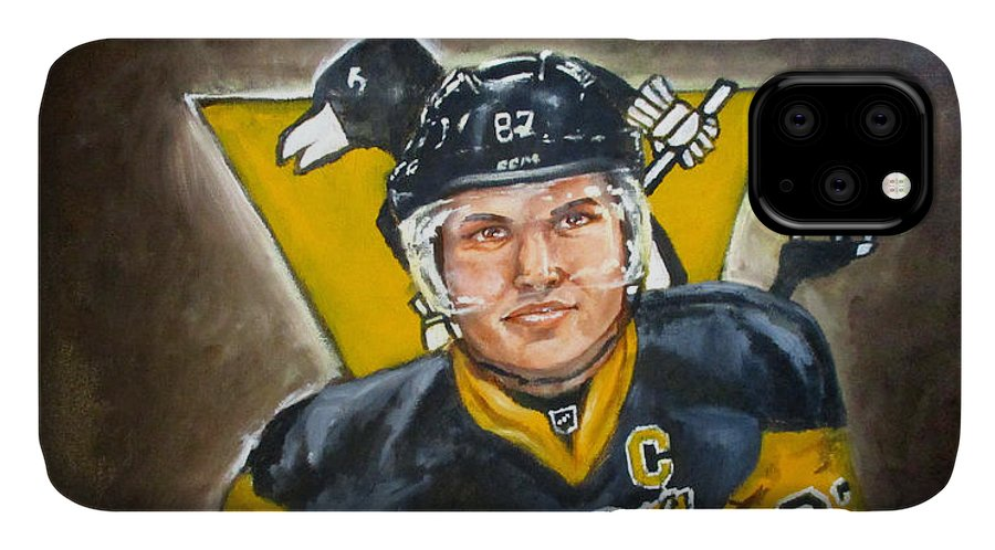 Penguins IPhone Case featuring the painting Sidney Crosby by Emma Olsen
