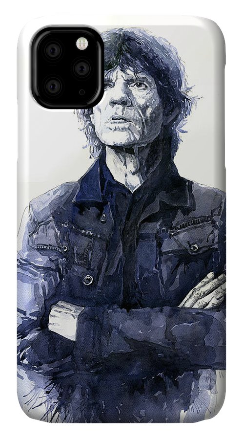 Watercolor IPhone 11 Case featuring the painting Sir Mick Jagger by Yuriy Shevchuk