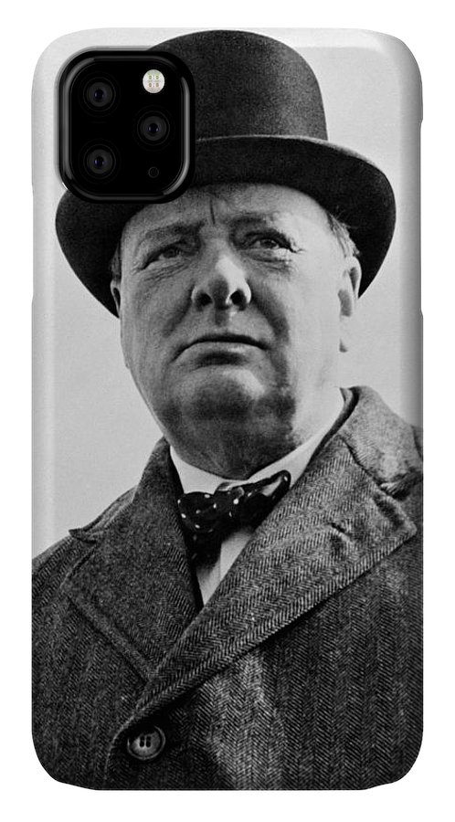 Wwii IPhone Case featuring the photograph Sir Winston Churchill by War Is Hell Store
