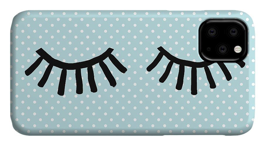 Eyes IPhone 11 Case featuring the mixed media Sleepy Eyes And Polka Dots Blue- Art By Linda Woods by Linda Woods