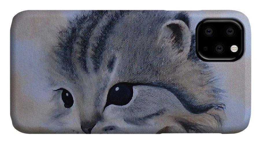 Animal Portrait IPhone Case featuring the painting Sleepy Kitten by Sandra Stone
