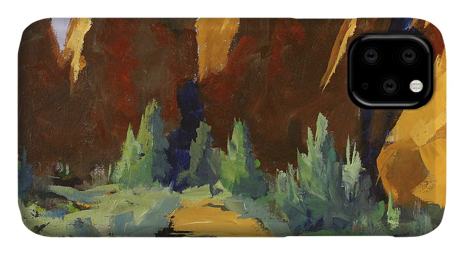 Oregon Landscape Painting IPhone Case featuring the painting Smith Rock by Nancy Merkle