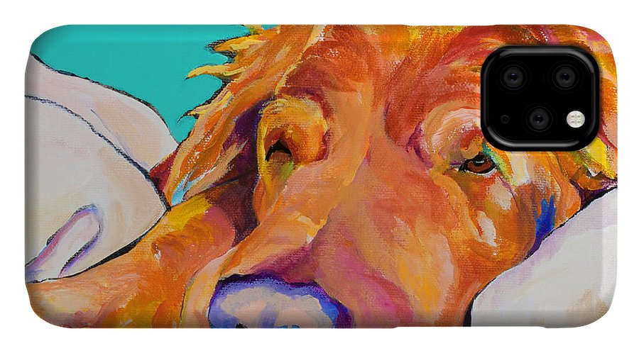 Dog Poortraits IPhone Case featuring the painting Snoozer King by Pat Saunders-White