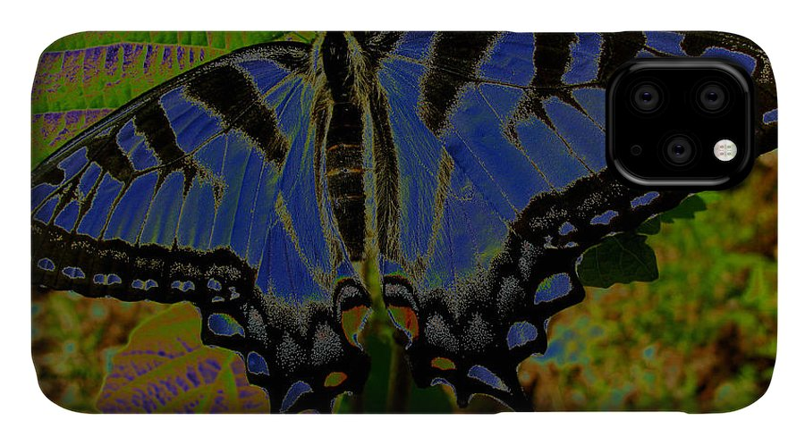 Solarized Butterfly IPhone Case featuring the photograph Solarized Butterfly by Debra   Vatalaro