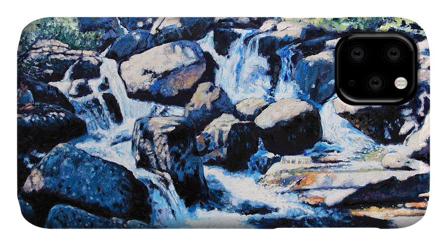 Rocky Mountains IPhone Case featuring the painting Somewhere in the Rocky Mountains by John Lautermilch
