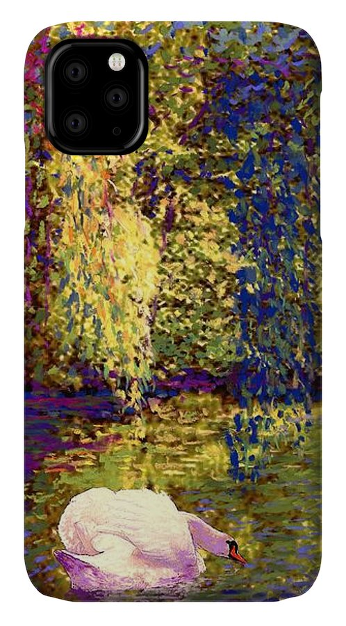 Spring IPhone 11 Case featuring the painting Swans, Soul Mates by Jane Small