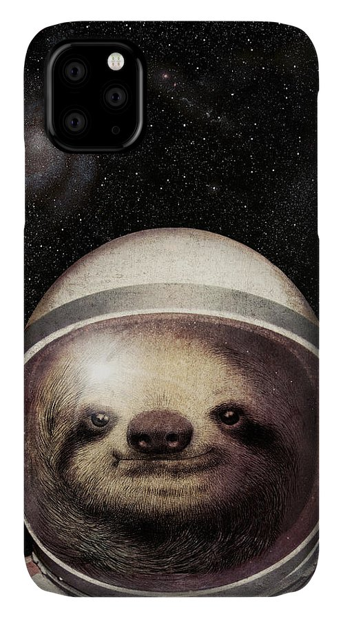 Sloth IPhone 11 Case featuring the drawing Space Sloth by Eric Fan