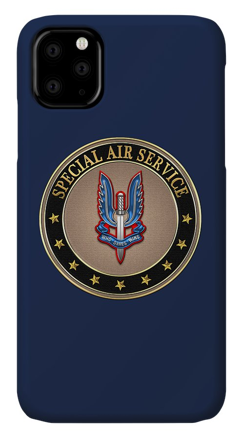 'uk Insignia & Heraldry' Collection By Serge Averbukh IPhone Case featuring the digital art Special Air Service - S A S Insignia Special Tan Edition Over Blue Velvet by Serge Averbukh