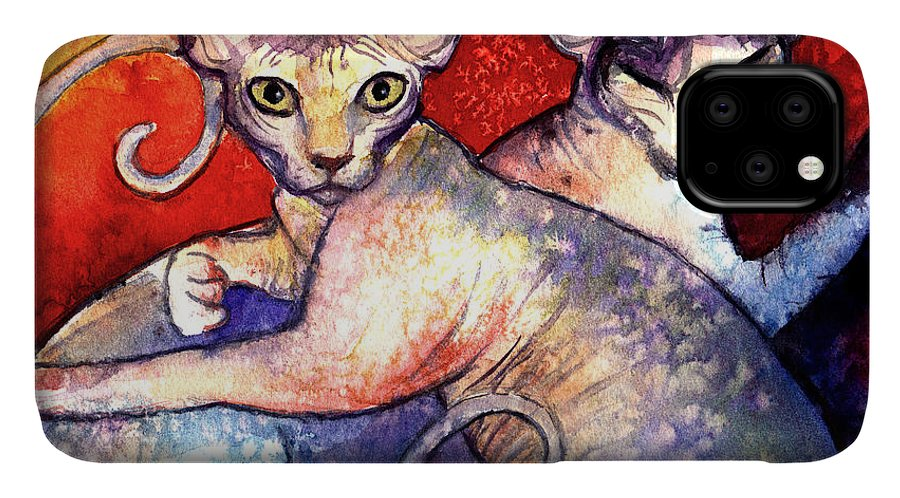 Sphynx Cat Picture IPhone Case featuring the painting Sphynx cats sphinx family painting by Svetlana Novikova