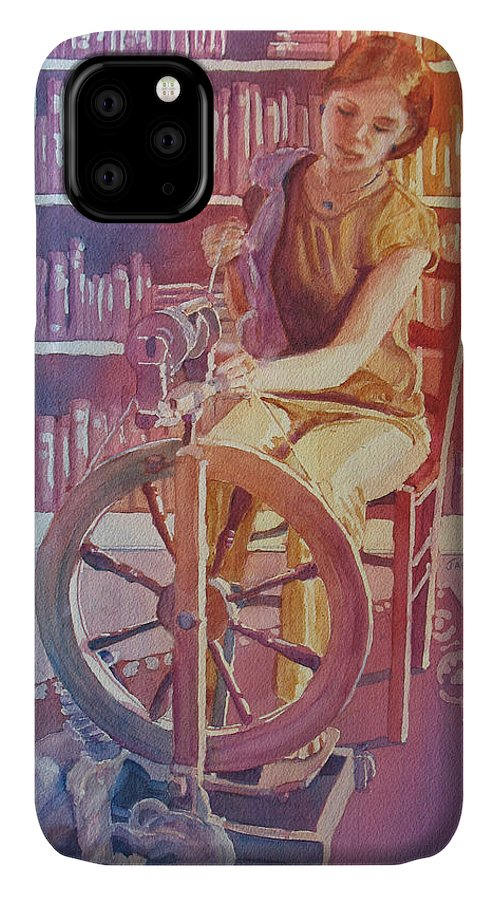 Spinning IPhone Case featuring the painting Spinning Tales by Jenny Armitage