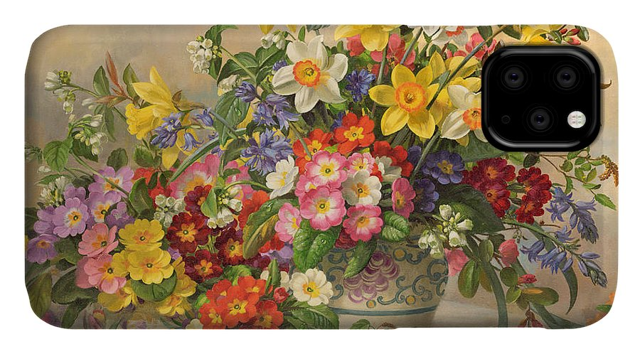 Primula; Daffodil; Primula; Narcissi; Spring Flowers; Flower; Flowers; Pool Pottery IPhone 11 Case featuring the painting Spring Flowers And Poole Pottery by Albert Williams