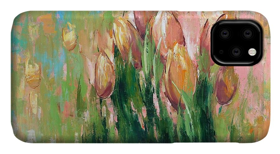 Tulips In The Grass IPhone Case featuring the painting Spring In Unison by Anastasija Kraineva