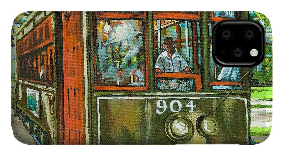 New Orleans Streetcar IPhone Case featuring the painting St. Charles No. 904 by Dianne Parks